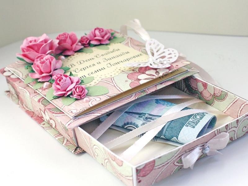 Подарок на свадьбу. Деньги в коробочке