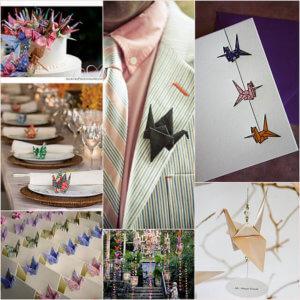 Бумажный журавлик на свадьбу, свадебное украшение