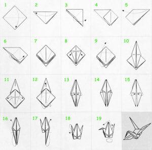 Как сделать бумажного журавлика